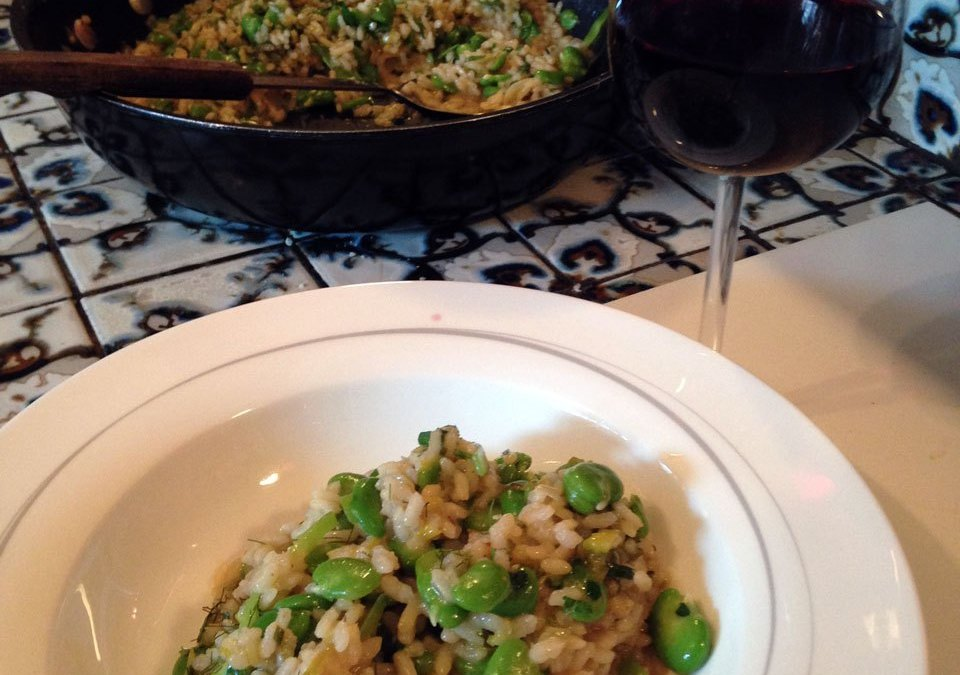 Broad Bean, Leek and Fennel Top Risotto